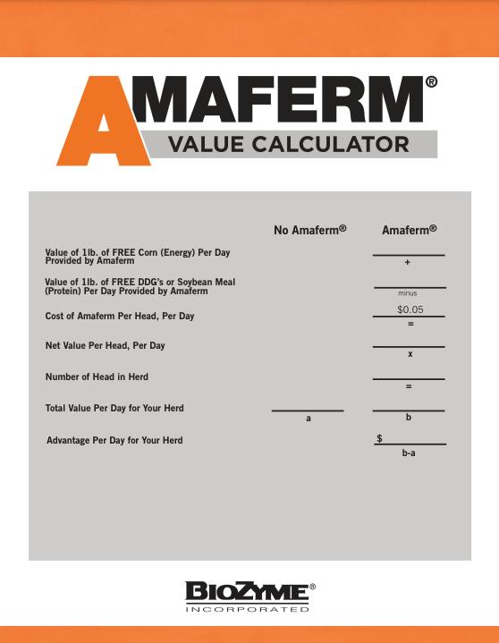 Amaferm Value Calculator